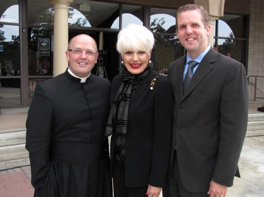 Father Robert Spitzer, left, and JSerra President Richard Meyer join me at the JSerra 10 Year Anniversary Celebration