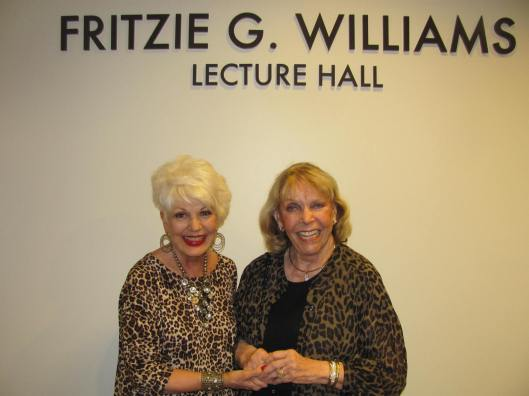 Fritzie Williams, standing with me outside the Fritzie G. Williams Lecture Hall, named in her honor at Chapman University's Dale E. Fowler School of Law